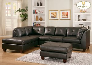 Bonded Leather Sectional Black