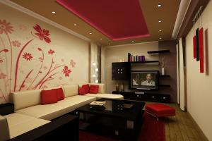 Soft Red Living Room