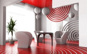 Contemporary red Living Room