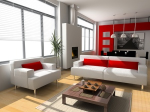 Modern Red Living Rooms