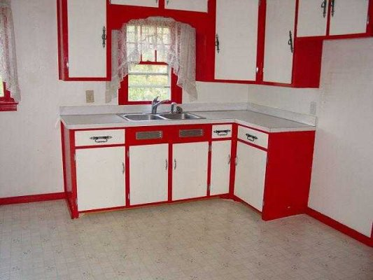 April 2012 real life real friends real deal - Red and white kitchen cabinets ...